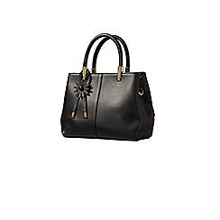 Yumi - Black faux leather tote bag with flower charm
