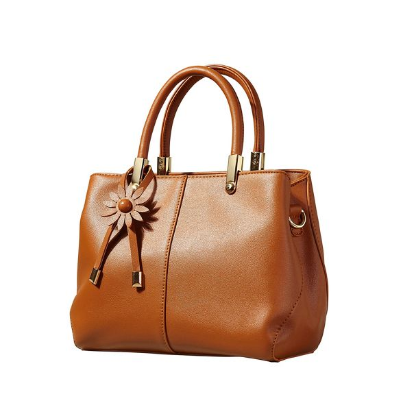 leather Tan Yumi with tote faux flower charm bag fn7aaqExwH
