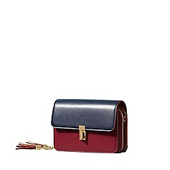 Yumi - Red colour block bag with tassel