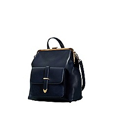 Yumi - Blue Vintage Clasp Rucksack With Front Buckle