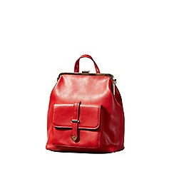 Yumi - Red Vintage Clasp Rucksack With Front Buckle