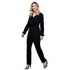 Mela London - Black wrap front belted long sleeve jumpsuit