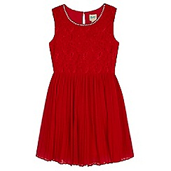 Yumi Girl - Red Pleated Pearl Lace Dress