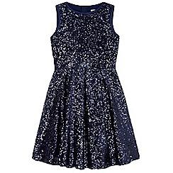 Yumi Girl - Blue Sparkling Sequin Skater Dress