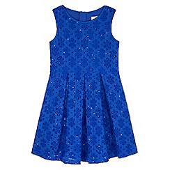 Yumi Girl - Blue Sequin Flower Party Dress
