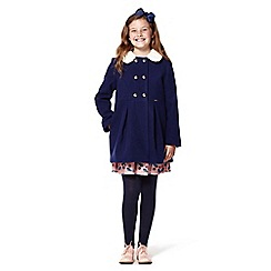 Yumi Girl - Girls' navy faux fur trim double breasted coat