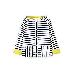 Yumi Girl - Girls' white contrasting stripe hooded jacket