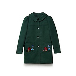 Yumi Girl - Girls' dark green embroidered floral patch coat