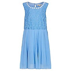 Yumi Girl - blue Pearl Flower Lace Dress