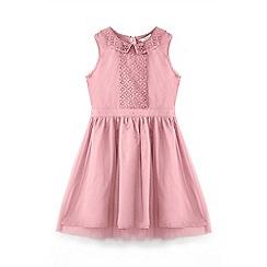 Yumi Girl - Pink sequin collar dress