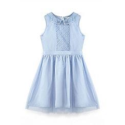 Yumi Girl - Blue sequin collar dress
