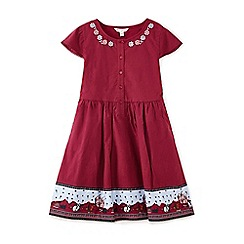 Yumi Girl - Red woodland border printed dress