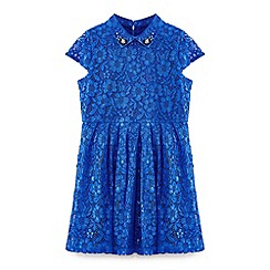 Yumi Girl - Blue embellished collar lace dress