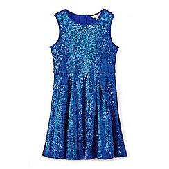 Yumi Girl - Girls' bright blue sleeveless sequin dress