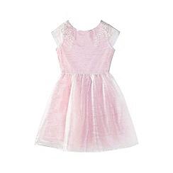 Yumi Girl - Pink embellished mesh prom dress