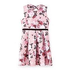Yumi Girl - Pale pink metallic rose print dress