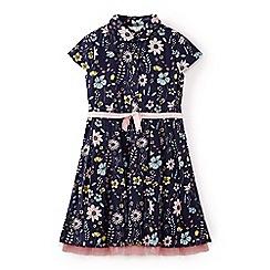 Yumi Girl - Girls' blue flower illustration cotton shirt dress