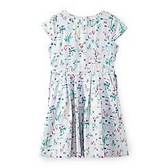 Yumi Girl - Girls' light grey flower print with pocket dress