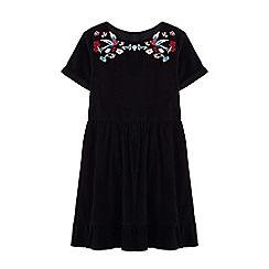 Yumi Girl - Girls' black floral folk dress