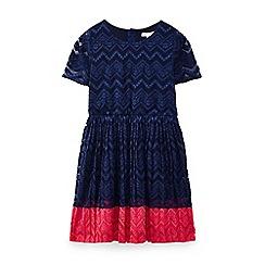 Yumi Girl - Navy lace panel dress