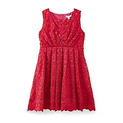 Yumi Girl - Wine love heart scalloped lace dress