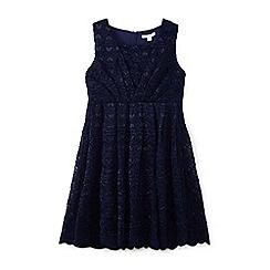 Yumi Girl - Navy love heart scalloped lace dress