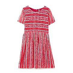 Yumi Girl - Wine striped lace dress