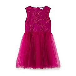 Yumi Girl - Pink 3d floral mesh dress