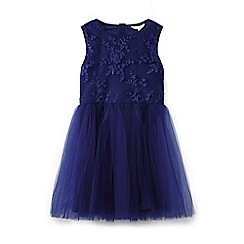 Yumi Girl - Blue 3d floral mesh dress