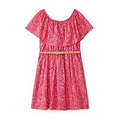Yumi Girl - Girls' pink floral lace 'Earla' bandeau dress