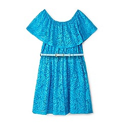 Yumi Girl - Girls' blue floral lace 'Earla' bandeau dress