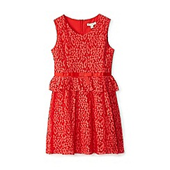 Yumi Girl - Girls' red floral lace 'Edelmira' peplum dress