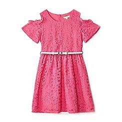 Yumi Girl - Girls' pink lace 'Abina' skater dress