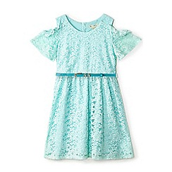 Yumi Girl - Girls' light blue lace 'Abina' skater dress