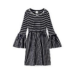 Yumi Girl - Girls' navy striped 'aurora' knitted dress