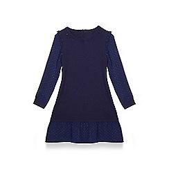 Yumi Girl - Girls' navy embellished knitted 'Adina' tunic dress