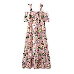 Yumi Girl - Girls' peach tropical vase print 'Adrienne' maxi dress