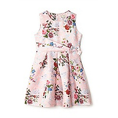 Yumi Girl - Girls' pale pink floral jacquard 'Aerin' skater dress