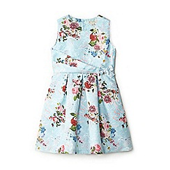 Yumi Girl - Girls' light blue floral jacquard 'Aerin' skater dress