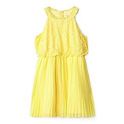 Yumi Girl - Girls' yellow lace 'Eartha' frilled neckline dress