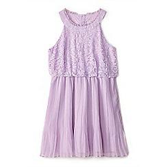 Yumi Girl - Girls' purple lace 'Eartha' frilled neckline dress