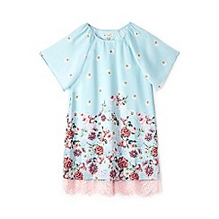 Yumi Girl - Girls' light blue floral print 'Aerith' tunic dress
