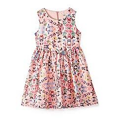 Yumi Girl - Girls' peach butterfly print 'Aerolynn' sleeveless dress