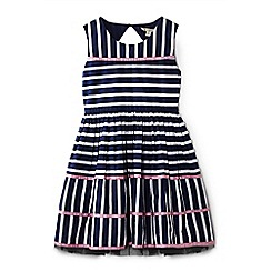 Yumi Girl - Girls' navy mix stripe cotton 'Afia' prom dress