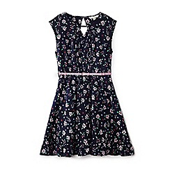Yumi Girl - Girls' navy floral and sunglass 'Afsaneh' skater dress