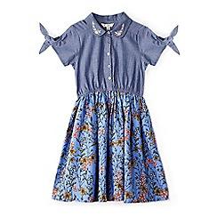 Yumi Girl - Girls' blue floral chambray 'Afsaneh' skater dress