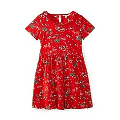 Yumi Girl - Girls' red park themed print 'Berit' skater dress