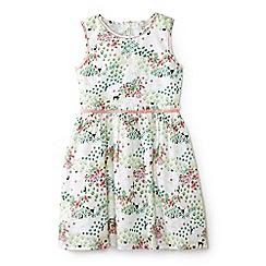 Yumi Girl - Girl white poodle and garden print dress