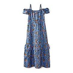 Yumi Girl - Girl blue french floral frill maxi dress