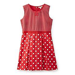 Yumi Girl - Girl red polka dot 'Axelle' skater dress